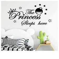 Amazon Com Diy Art Wall Sticker The Princess Sleeps Here Wall Decals Children S Room Home Decoration Black Baby