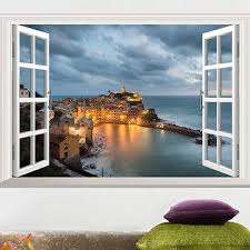 Window View Scenery Wall Sticker Seaside Castle Sticker Scenery Removable Wall Stickers Wall Decals Pvc Home Decor Wallpaper Decor Wallpaper Sticker Wall Decalwall Decals Aliexpress