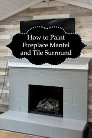 fireplace mantel and tile surround