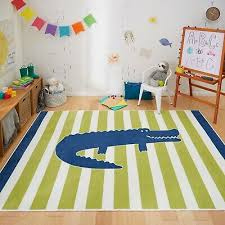 5x7 Area Rug Kids Child Teen Boys Girls Alligator Blue Green Striped Carpet Play Ebay