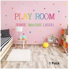 Amazon Com 1 Pack Play Room Share Imagine Laugh Wall Decals Rainbow Inspirational Quotes Playroom Wall Stickers Colorful Stars Wall Art Sticker For Kids Home Living Room Bedroom Nursery Party Decor Decorations Arts