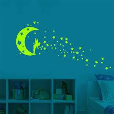 Luminous Cartoon Wall Stickers Glow In The Dark Sticker Fogorescent Fairy Moon Stars Wall Stickers Kid Room Home Decoration Wall Stickers Aliexpress
