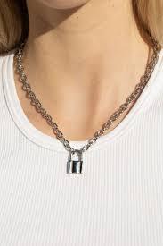 silver lock chain necklace brandy