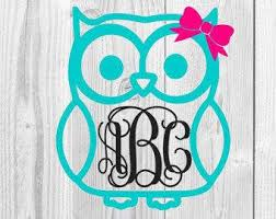 Owl Monogram Decal Etsy