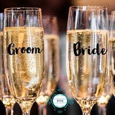 Champagne Glass Decals Personalized Wedding Flute Glass Decal Etsy