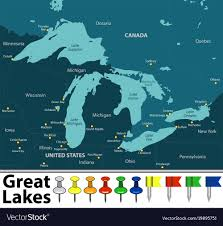 Map of great lakes Royalty Free Vector ...
