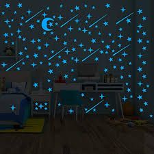 Glow In The Dark Stars Sticker 216 Pcs Ceiling Stickers Glowing For Star Wall Decal Kids Baby Room Birthday Gift Blue And Moon Educational Toys Planet