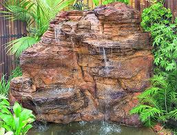 large garden vertical rock waterfalls