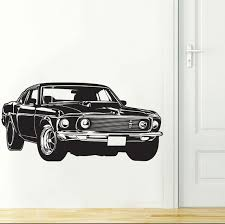 Sports Race Car Ford Mustang Wall Decal Art Decor Sticker Ford Mustang Decal Decor Mustang Decal Race Car Decal Sports Car Decal Ford Decal Wish