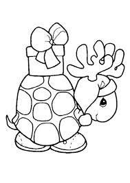 Kerst Kleurplaat Van Een Schildpad Met Een Kado Op Z N Rug