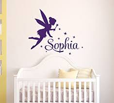 Amazon Com Name Custom Tinkerbell Wall Decal Nursery Wall Decals Fairy Silhouette Vinyl Decals Magic Little Princess Decor Vinyl Sticker 36 W X 32 H Baby