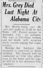 Myrtle (Mitchell) Gray death from pellagra - Newspapers.com