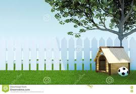 Wooden Dog Kennel Under Tree Shade On Green Grass Meadow With Soccer Ball And White Wooden Fence Stock Illustration Illustration Of Garden Trees 77878065