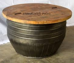 industrial style drum coffee table