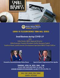 Assemblymember Eloise Gómez Reyes - Small businesses are suffering because  of COVID-19. How are owners and employees coping? What's available? How do  they apply? My office has organized a Teleconference Town Hall