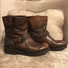 nwot brown leather biker boots