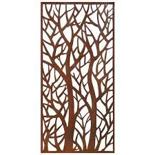 Stratco Forest Aluminum Privacy Screen Wall Art 48 In X 24 In Brown Lowe S Canada