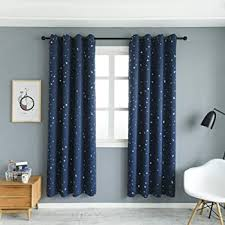 Amazon Com Mangata Casa 2 Panels Blackout Curtains With Night Sky Twinkle Star For Kids Room Thermal Insulated Grommet Bedroom Drapes Navy 52x84in Home Kitchen