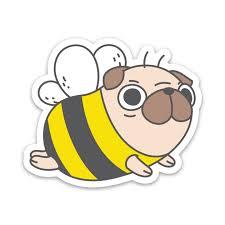 Pug Bee Vinyl Sticker Noristudio