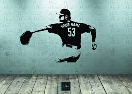 Amazon Com Baseball Wall Decal Wall Art Custom Name Jersey Numbers Baseball Bedroom Decor Baseball Player Vinyl Sticker Baseball Picther Kids Handmade