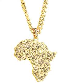 senteria iced out african map pendant