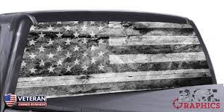 Distressed American Flag B W Universal Truck Rear Window 50 50 Perfora Roe Graphics And Apparel
