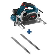 Bosch 6 5 A 3 1 4in Corded Planer Kit With Reversible Carbide Blade 3 1 4 In Tungsten Carbide Woodrazor Planer Blades 2 Pack Pl1632 Pa1202 The Home Depot