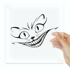 Alice In Wonderland Cat Smile Stencil Fun Vinyl Stickers Decals Car Ebay