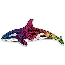 Amazon Com Orca Killer Whale Decal Vinyl Sticker Decorative Tribal Tie Dye Rainbow Colored For Car Truck Window Laptop Computers Bumper Sticker Automotive