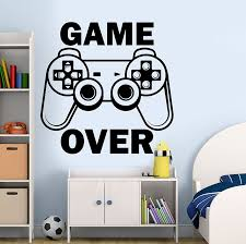 Gamer Wall Decal Game Over Sticker Controller Video Game Wall Decals Playroom Decor Playstation Sticker Kids Room Decor A11 023 Wall Stickers Aliexpress