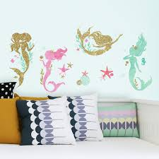 Roommates Mermaid Peel And Stick Wall Decals With Glitter Walmart Com Walmart Com