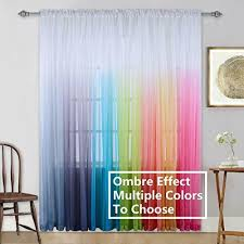 Kids Girls Bedroom Sheer Curtains Colorful Rainbow Ombre Window Panels Drapes For Sale Online Ebay