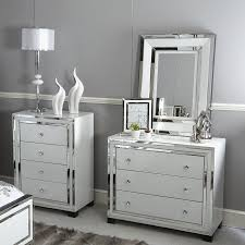 glass 3 drawer mirrored chest