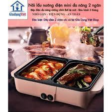 Nồi lẩu nướng điện mini đa năng 2 ngăn, bếp điện đa năng chống dính thế hệ  mới - Bảo hành 3 tháng