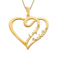 couple heart necklace in 14k gold my