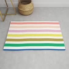 Rainbow Stripes Colorful Decor For Kids Room Nursery Boy Or Girl Rug By Charlottewinter Society6