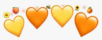 yellow #yellowheart #orange #orangeheart #crown #crownheart - Heart, HD Png  Download , Transparent Png Image - PNGitem