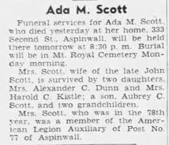Ada Scott 1940 obit - Newspapers.com