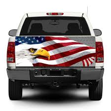 Product American Eagle Usa Flag Steel Tailgate Decal Sticker Wrap Pick Up Truck Suv Car