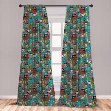 East Urban Home Ambesonne Pirates Curtains Illustration Of Retro Pirate Adventure Kids Fairytales Cheerful Cartoon Characters Window Treatments 2 Panel Set For Living Room Bedroom Decor 56 X 63 Multicolor Wayfair