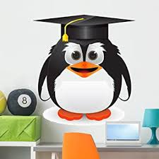 Amazon Com Wallmonkeys Penguin With Graduation Cap Wall Decal Peel And Stick Graphic 36 In H X 36 In W Wm346221 Furniture Decor