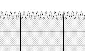 Barbed Wire And Fence Front View Of A Wire Mesh Black And White White Background And Drawing In Black Protection Private Place No Access Protected Area Image Stock By Pixlr