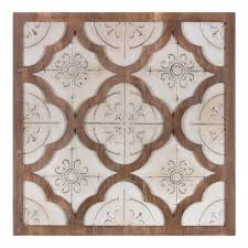32 Inch Antique White Metal And Wood Quatrefoil Medallion Framed Wall Art Decor Walmart Com Walmart Com