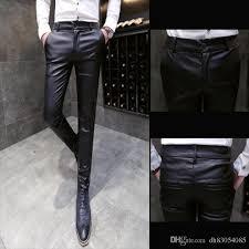 faux leather pants men fashion