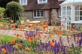 dining terrace through flower beds