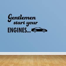 Gentleman Start Your Engines With Checkered Racing Flag Vinyl Wall Decal Pc437 Walmart Com Walmart Com
