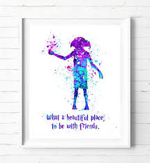 harry potter dobby watercolor painting poster prints quotes wall
