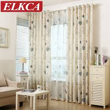 herb printed faux linen curtains