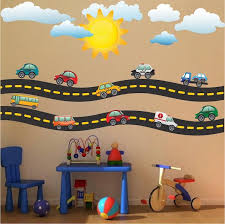 Cars And Race Track Wall Decal Kid S Bedroom Racetrack Wall Decor Removable Car Stickers B41 Kids Wall Decals Sports Wall Decals Wall Decals