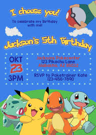 Pokemon Birthday Invitation Printable Pokemon Invitation Pokemon